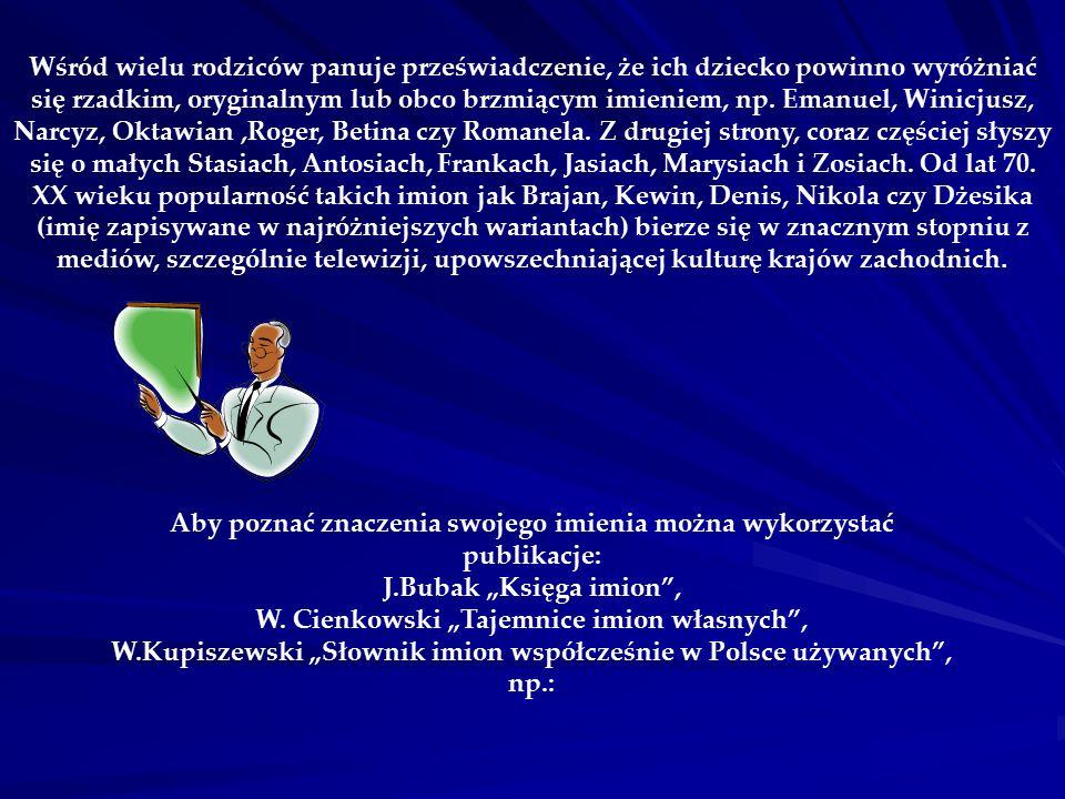 """Aby poznać znaczenia swojego imienia można wykorzystać publikacje: J.Bubak """"Księga imion , W."""