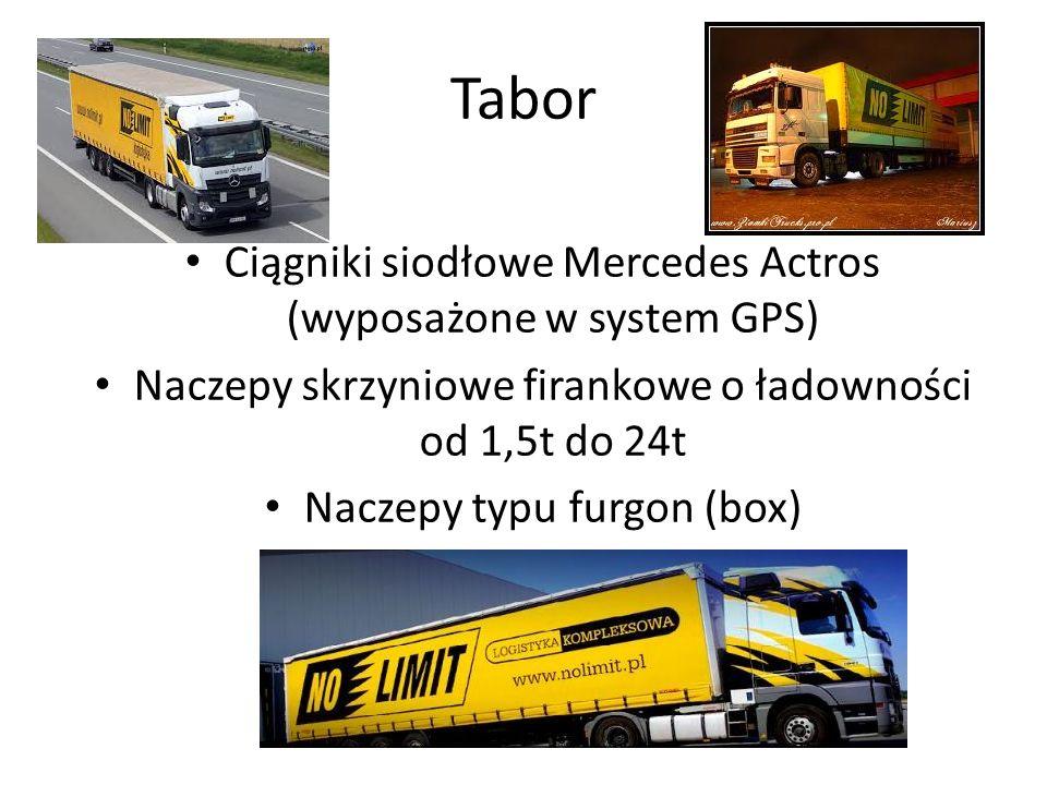 Tabor Ciągniki siodłowe Mercedes Actros (wyposażone w system GPS) Naczepy skrzyniowe firankowe o ładowności od 1,5t do 24t Naczepy typu furgon (box)