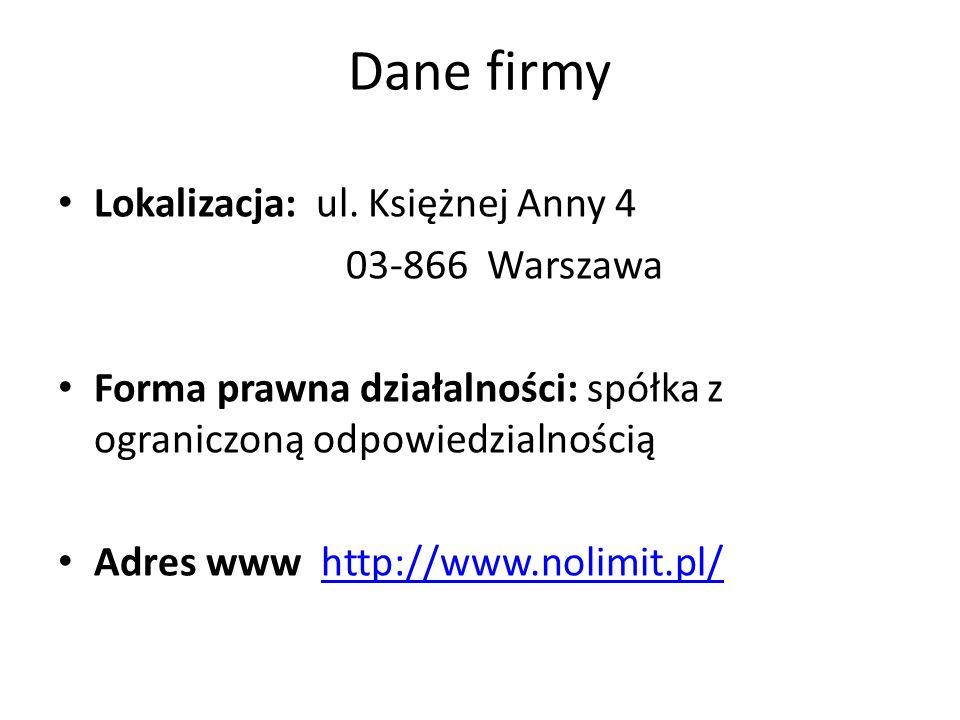 Dane firmy Lokalizacja: ul. Księżnej Anny 4 03-866 Warszawa Forma prawna działalności: spółka z ograniczoną odpowiedzialnością Adres www http://www.no
