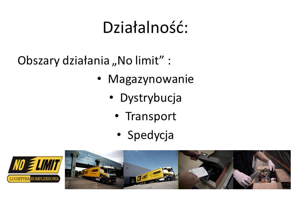 """Działalność: Obszary działania """"No limit"""" : Magazynowanie Dystrybucja Transport Spedycja"""