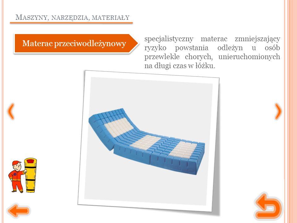 M ASZYNY, NARZĘDZIA, MATERIAŁY specjalistyczny materac zmniejszający ryzyko powstania odleżyn u osób przewlekle chorych, unieruchomionych na długi czas w łóżku.