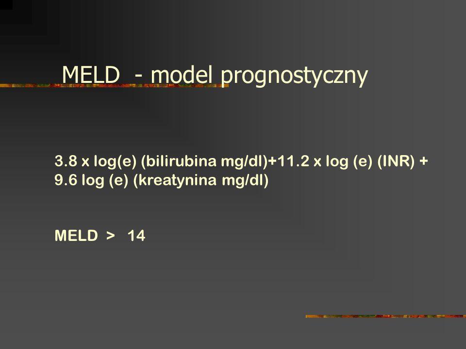 3.8 x log(e) (bilirubina mg/dl)+11.2 x log (e) (INR) + 9.6 log (e) (kreatynina mg/dl) MELD > 14 MELD - model prognostyczny