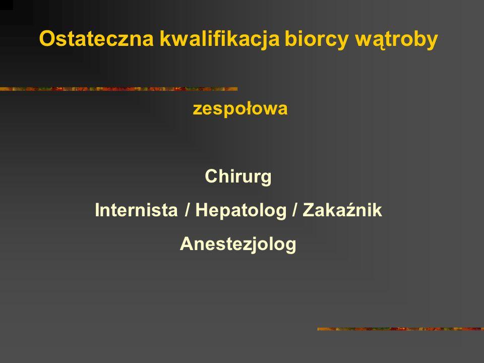 Ostateczna kwalifikacja biorcy wątroby zespołowa Chirurg Internista / Hepatolog / Zakaźnik Anestezjolog
