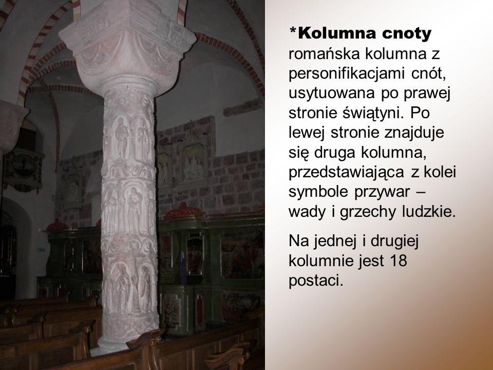 *Kolumna cnoty romańska kolumna z personifikacjami cnót, usytuowana po prawej stronie świątyni.