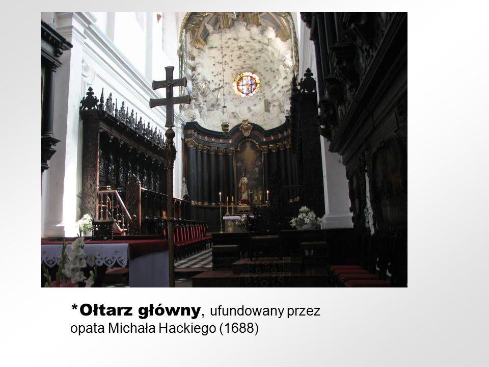 *Ołtarz główny, ufundowany przez opata Michała Hackiego (1688)