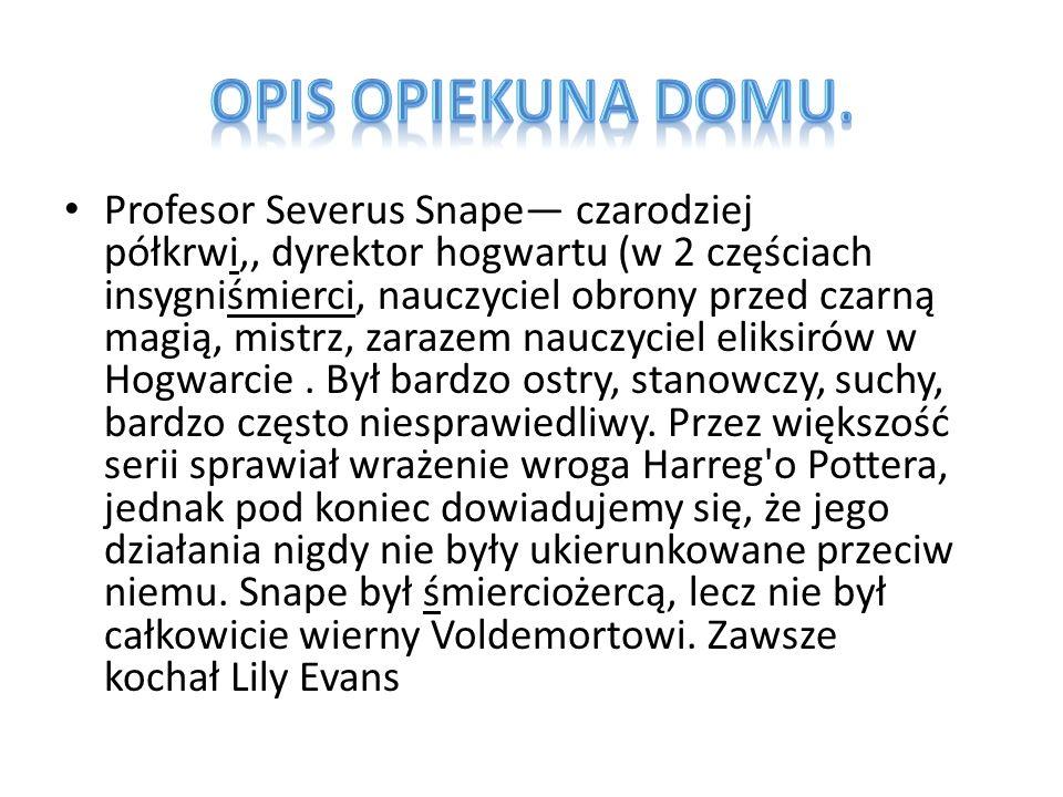 Profesor Severus Snape— czarodziej półkrwi,, dyrektor hogwartu (w 2 częściach insygniśmierci, nauczyciel obrony przed czarną magią, mistrz, zarazem nauczyciel eliksirów w Hogwarcie.
