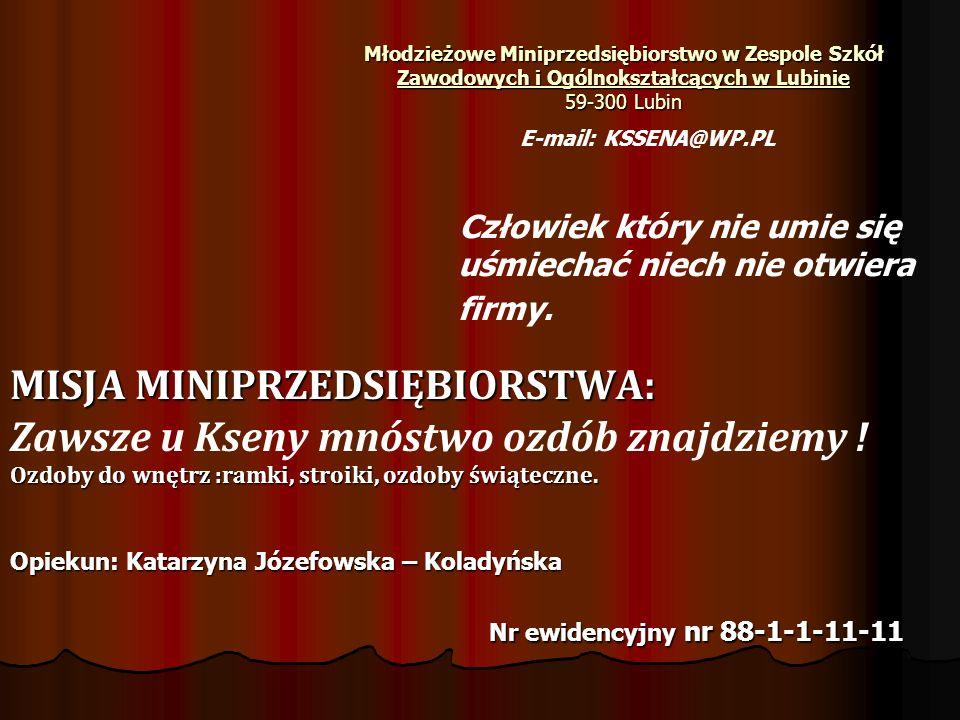 Młodzieżowe Miniprzedsiębiorstwo w Zespole Szkół Zawodowych i Ogólnokształcących w Lubinie 59-300 Lubin Człowiek który nie umie się uśmiechać niech nie otwiera firmy.