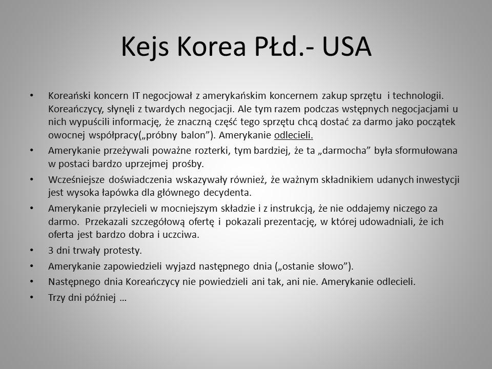 Kejs Korea PŁd.- USA Koreański koncern IT negocjował z amerykańskim koncernem zakup sprzętu i technologii.