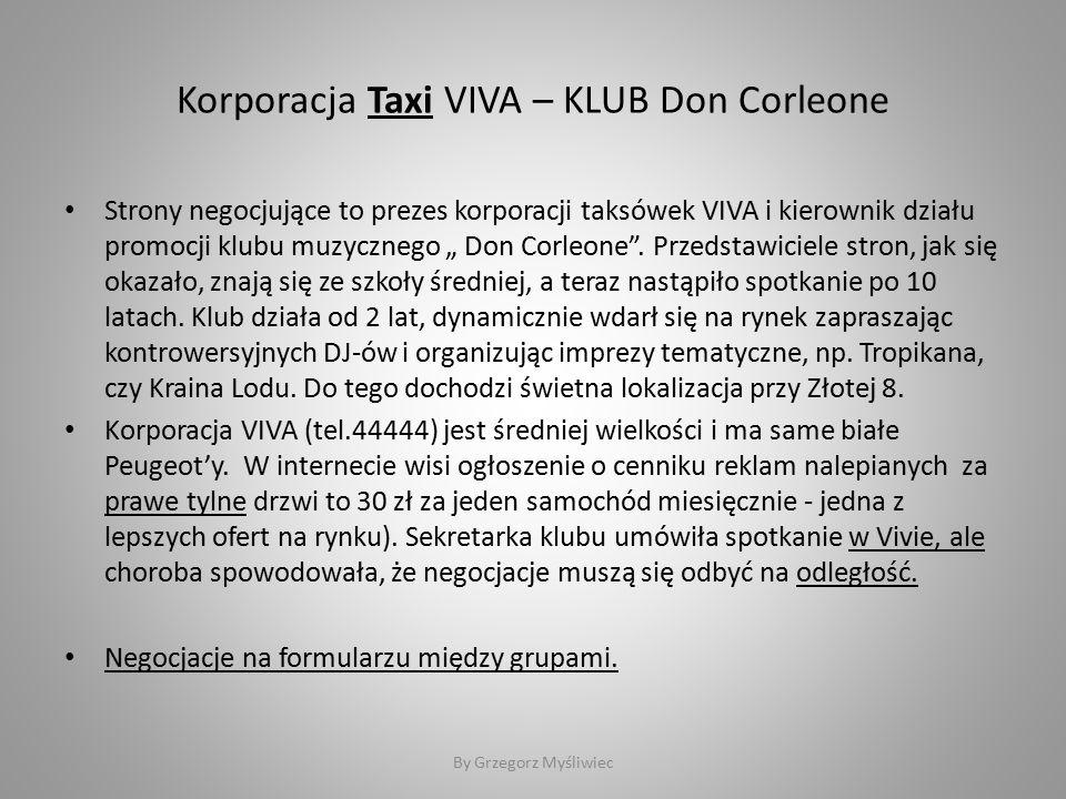 """Korporacja Taxi VIVA – KLUB Don Corleone Strony negocjujące to prezes korporacji taksówek VIVA i kierownik działu promocji klubu muzycznego """" Don Corleone ."""