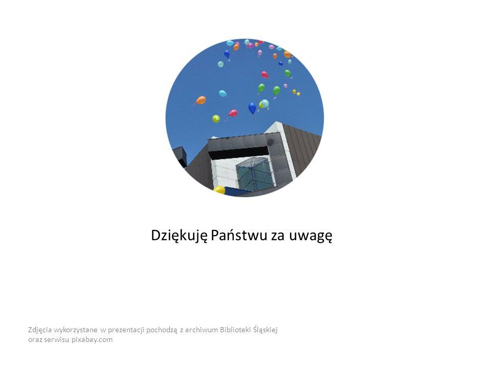 Dziękuję Państwu za uwagę Zdjęcia wykorzystane w prezentacji pochodzą z archiwum Biblioteki Śląskiej oraz serwisu pixabay.com
