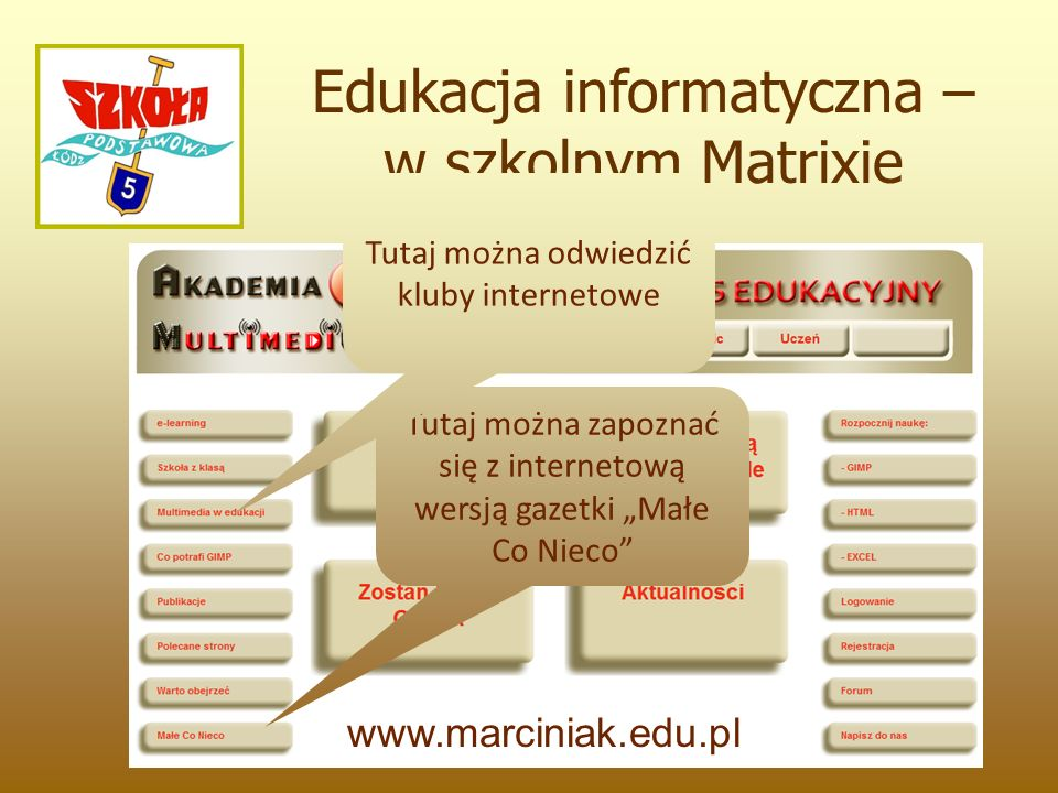 """Edukacja informatyczna – w szkolnym Matrixie www.marciniak.edu.pl Tutaj można zapoznać się z internetową wersją gazetki """"Małe Co Nieco Tutaj można odwiedzić kluby internetowe"""