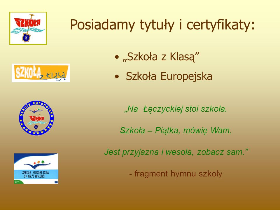 """Posiadamy tytuły i certyfikaty: """"Szkoła z Klasą Szkoła Europejska """"Na Łęczyckiej stoi szkoła."""
