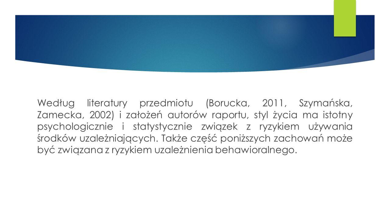 Według literatury przedmiotu (Borucka, 2011, Szymańska, Zamecka, 2002) i założeń autorów raportu, styl życia ma istotny psychologicznie i statystycznie związek z ryzykiem używania środków uzależniających.