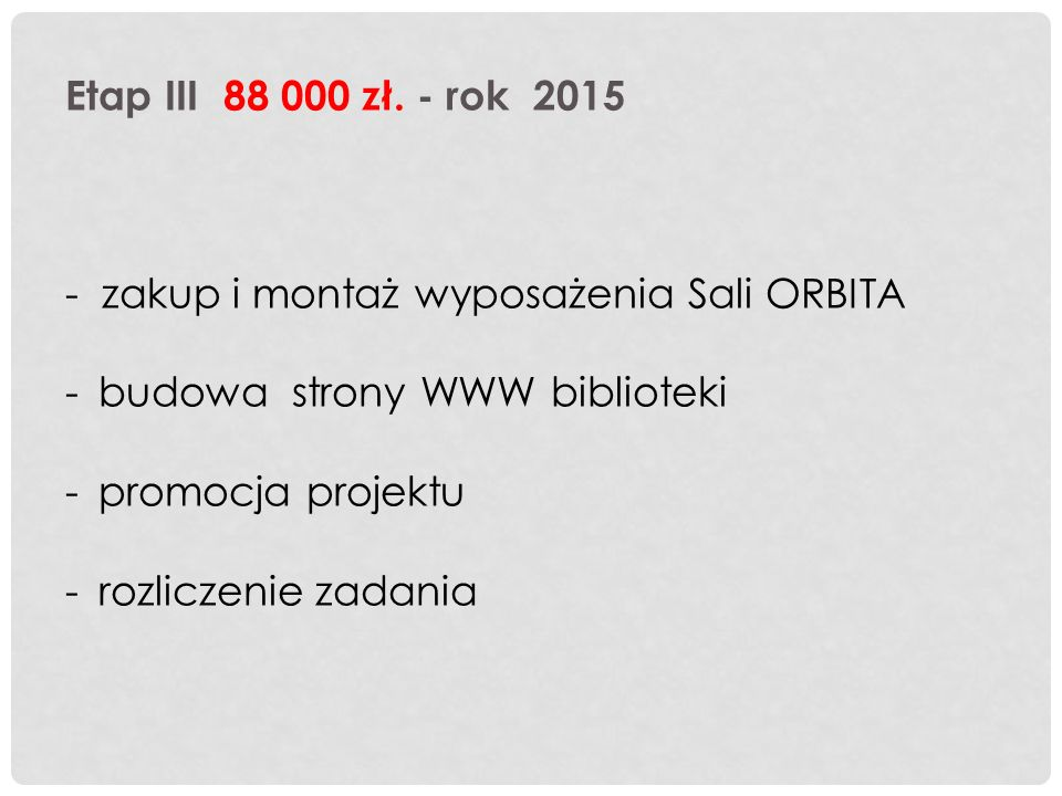 Etap III 88 000 zł.