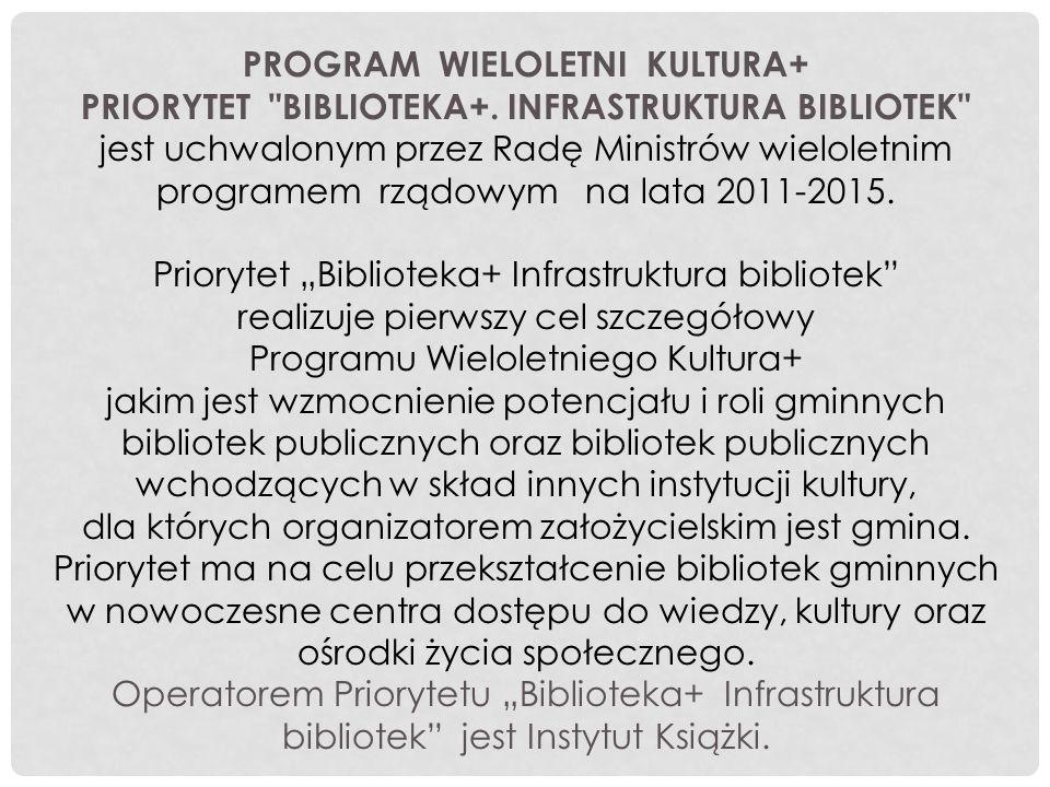 Celem wnioskowania o dofinansowanie w Programie BIBLIOTEKA+ było: zwiększenie powierzchni użytkowej biblioteki umożliwienie dostępu do nowo zaadoptowanej powierzchni oraz pozostałych pomieszczeń osobom fizycznie niepełnosprawnym wyposażenie zaadoptowanego pomieszczenia w multimedia podniesienie estetyki wnętrz w części pomieszczeń biblioteki wprowadzenie nowych usług dla użytkowników wszystkich grup wiekowych z wykorzystaniem nowo zaadoptowanej powierzchni