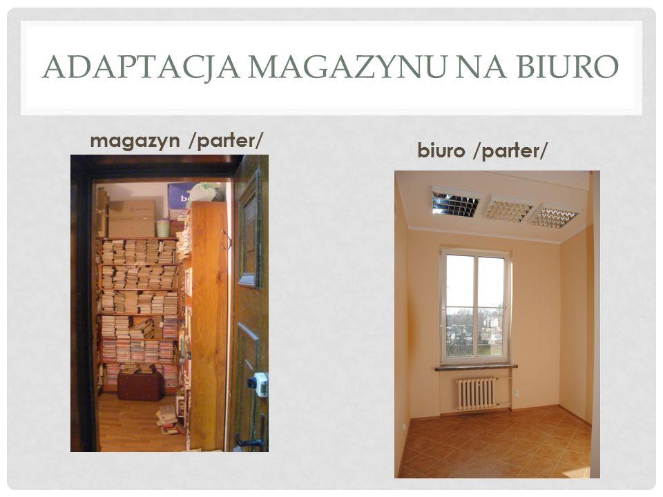 ADAPTACJA MAGAZYNU NA BIURO magazyn /parter/ biuro /parter/