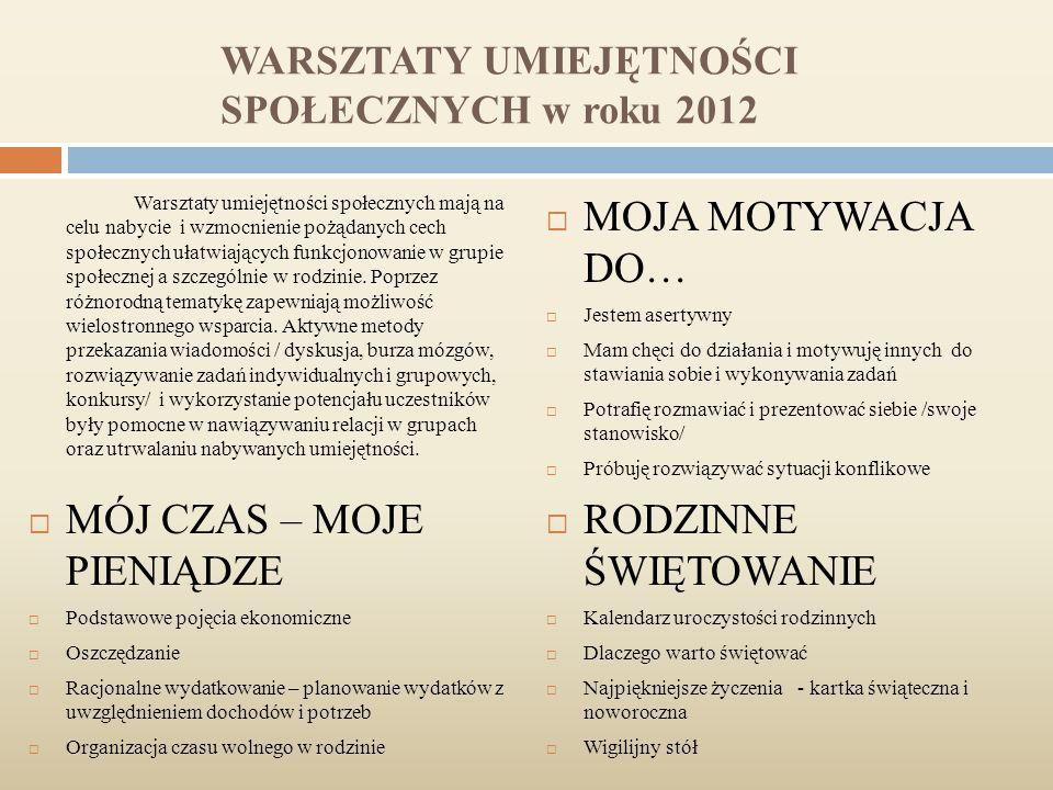 WARSZTATY UMIEJĘTNOŚCI SPOŁECZNYCH w roku 2012 Warsztaty umiejętności społecznych mają na celu nabycie i wzmocnienie pożądanych cech społecznych ułatwiających funkcjonowanie w grupie społecznej a szczególnie w rodzinie.