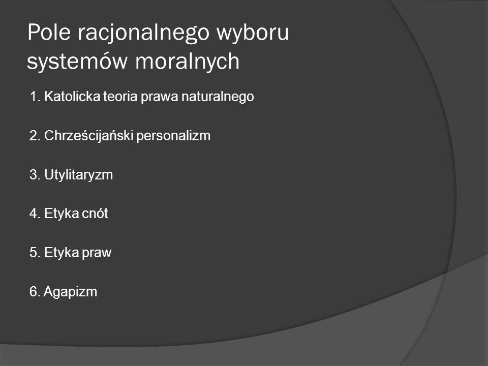 Pole racjonalnego wyboru systemów moralnych 1. Katolicka teoria prawa naturalnego 2.