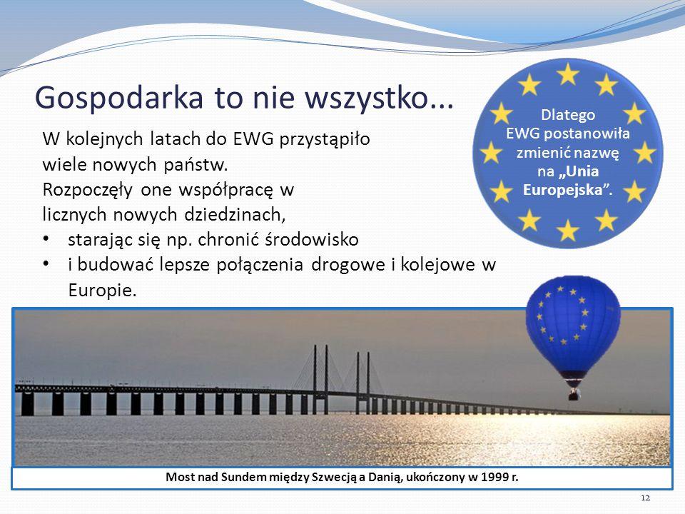 """Gospodarka to nie wszystko... 12 Dlatego EWG postanowiła zmienić nazwę na """"Unia Europejska ."""