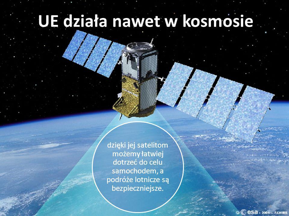 18 UE działa nawet w kosmosie dzięki jej satelitom możemy łatwiej dotrzeć do celu samochodem, a podróże lotnicze są bezpieczniejsze.