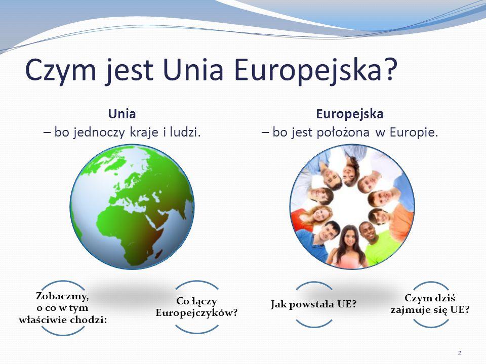 Europejska – bo jest położona w Europie. Unia – bo jednoczy kraje i ludzi.