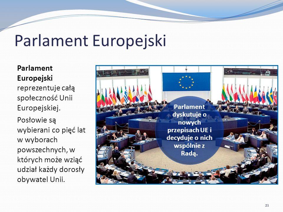 Parlament Europejski Parlament Europejski reprezentuje całą społeczność Unii Europejskiej.