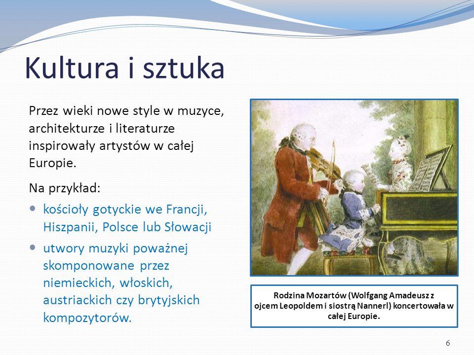 Kultura i sztuka Rodzina Mozartów (Wolfgang Amadeusz z ojcem Leopoldem i siostrą Nannerl) koncertowała w całej Europie.