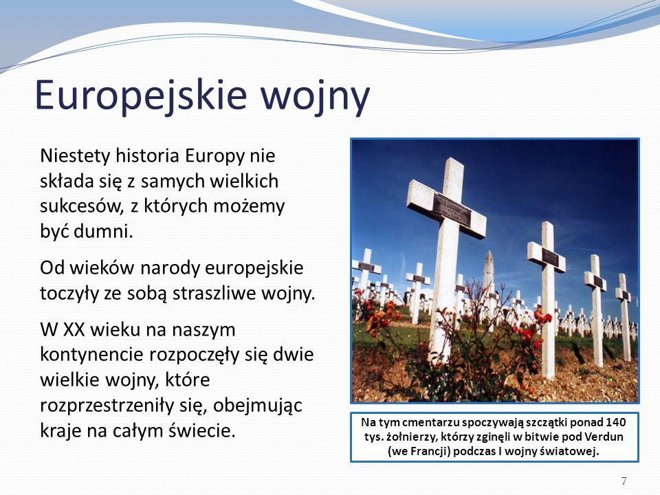 Europejskie wojny Pod koniec II wojny światowej Europejczycy zadawali sobie pytanie: Czy można jakoś zapobiec powtórzeniu się tej strasznej historii.