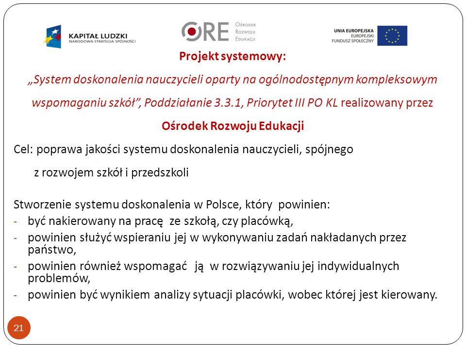 """21 Projekt systemowy: """"System doskonalenia nauczycieli oparty na ogólnodostępnym kompleksowym wspomaganiu szkół , Poddziałanie 3.3.1, Priorytet III PO KL realizowany przez Ośrodek Rozwoju Edukacji Cel: poprawa jakości systemu doskonalenia nauczycieli, spójnego z rozwojem szkół i przedszkoli Stworzenie systemu doskonalenia w Polsce, który powinien: - być nakierowany na pracę ze szkołą, czy placówką, - powinien służyć wspieraniu jej w wykonywaniu zadań nakładanych przez państwo, - powinien również wspomagać ją w rozwiązywaniu jej indywidualnych problemów, - powinien być wynikiem analizy sytuacji placówki, wobec której jest kierowany."""