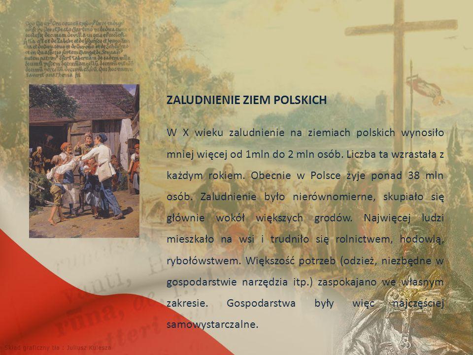 ZALUDNIENIE ZIEM POLSKICH W X wieku zaludnienie na ziemiach polskich wynosiło mniej więcej od 1mln do 2 mln osób.