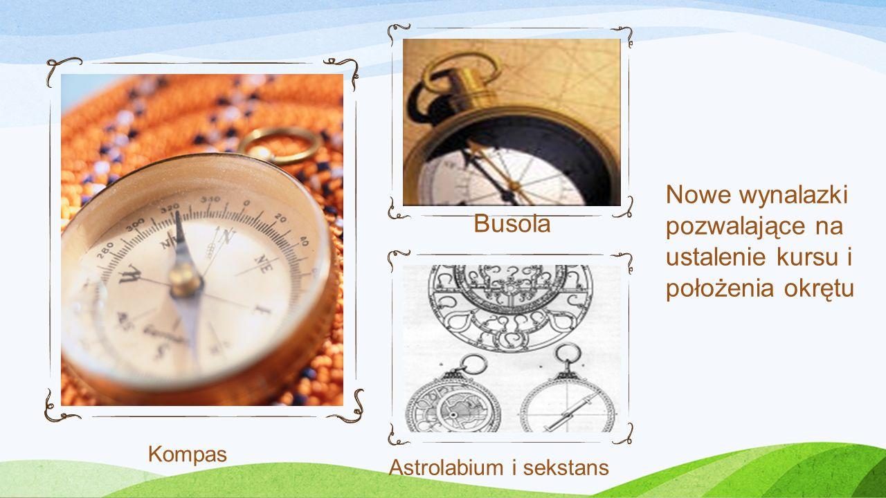 Nowe wynalazki pozwalające na ustalenie kursu i położenia okrętu Kompas Astrolabium i sekstans Busola