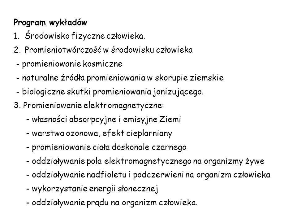 Program wykładów 1.Środowisko fizyczne człowieka.