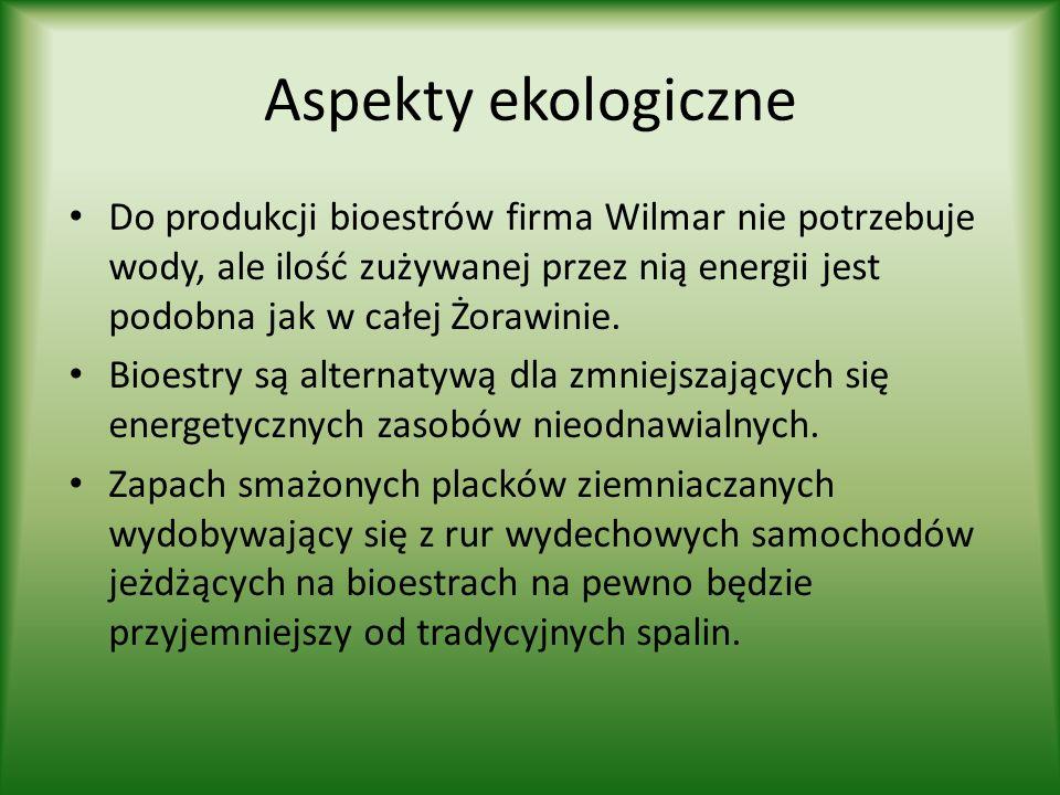 Aspekty ekologiczne Do produkcji bioestrów firma Wilmar nie potrzebuje wody, ale ilość zużywanej przez nią energii jest podobna jak w całej Żorawinie.