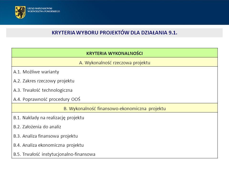 KRYTERIA WYKONALNOŚCI A. Wykonalność rzeczowa projektu A.1.