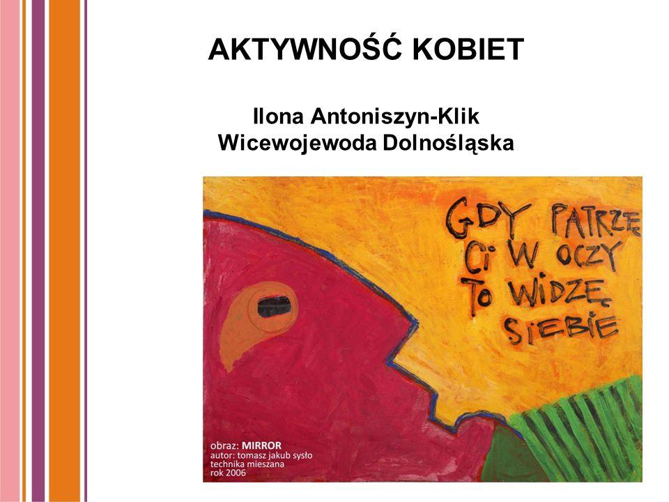 AKTYWNOŚĆ KOBIET Ilona Antoniszyn-Klik Wicewojewoda Dolnośląska