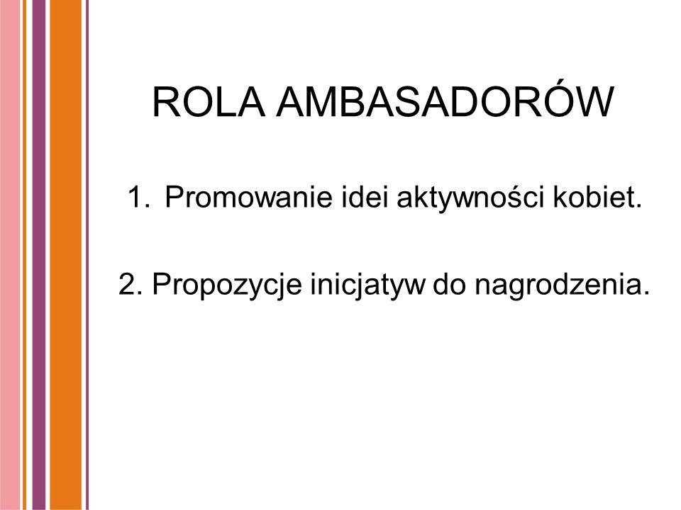 ROLA AMBASADORÓW 1.Promowanie idei aktywności kobiet. 2. Propozycje inicjatyw do nagrodzenia.