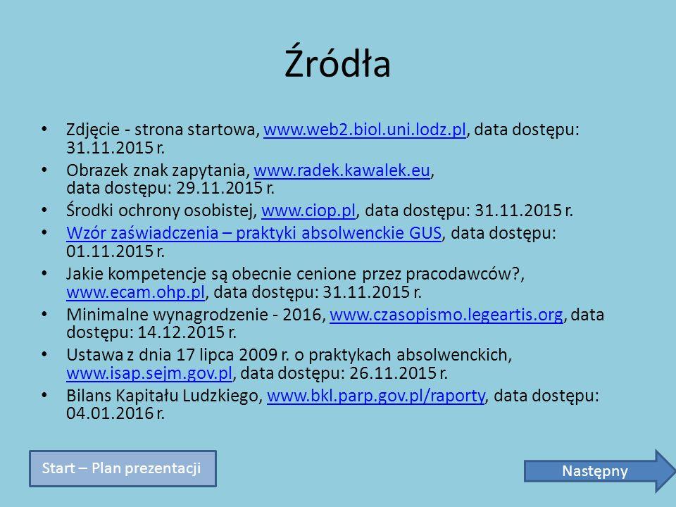 Źródła Zdjęcie - strona startowa, www.web2.biol.uni.lodz.pl, data dostępu: 31.11.2015 r.www.web2.biol.uni.lodz.pl Obrazek znak zapytania, www.radek.ka