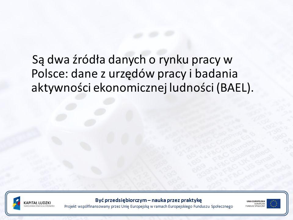 Być przedsiębiorczym – nauka przez praktykę Projekt współfinansowany przez Unię Europejską w ramach Europejskiego Funduszu Społecznego Są dwa źródła danych o rynku pracy w Polsce: dane z urzędów pracy i badania aktywności ekonomicznej ludności (BAEL).
