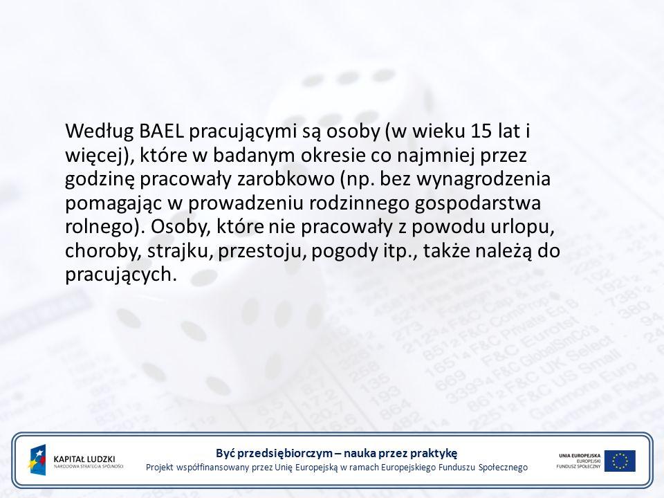 Być przedsiębiorczym – nauka przez praktykę Projekt współfinansowany przez Unię Europejską w ramach Europejskiego Funduszu Społecznego Według BAEL pracującymi są osoby (w wieku 15 lat i więcej), które w badanym okresie co najmniej przez godzinę pracowały zarobkowo (np.
