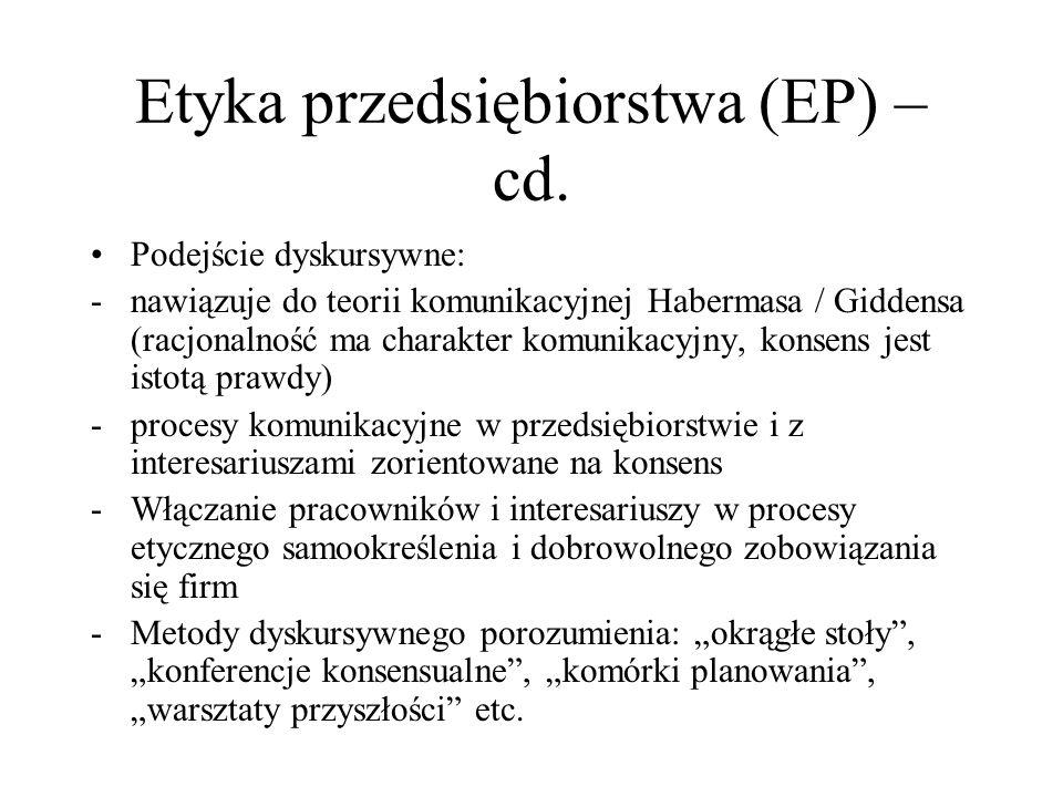 Etyka przedsiębiorstwa (EP) – cd. Podejście dyskursywne: -nawiązuje do teorii komunikacyjnej Habermasa / Giddensa (racjonalność ma charakter komunikac