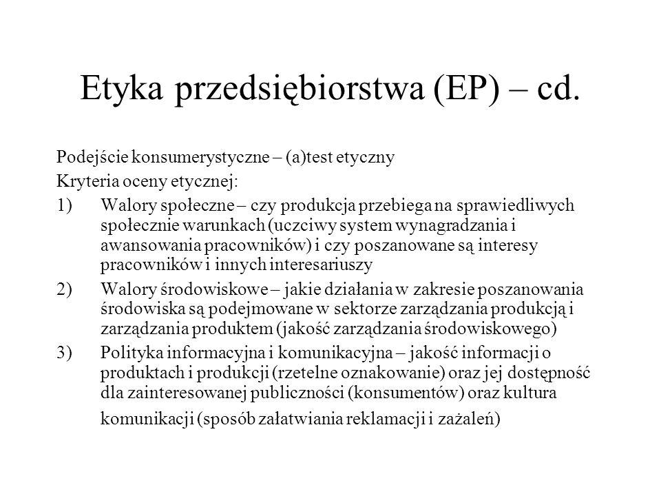 Etyka przedsiębiorstwa (EP) – cd. Podejście konsumerystyczne – (a)test etyczny Kryteria oceny etycznej: 1)Walory społeczne – czy produkcja przebiega n