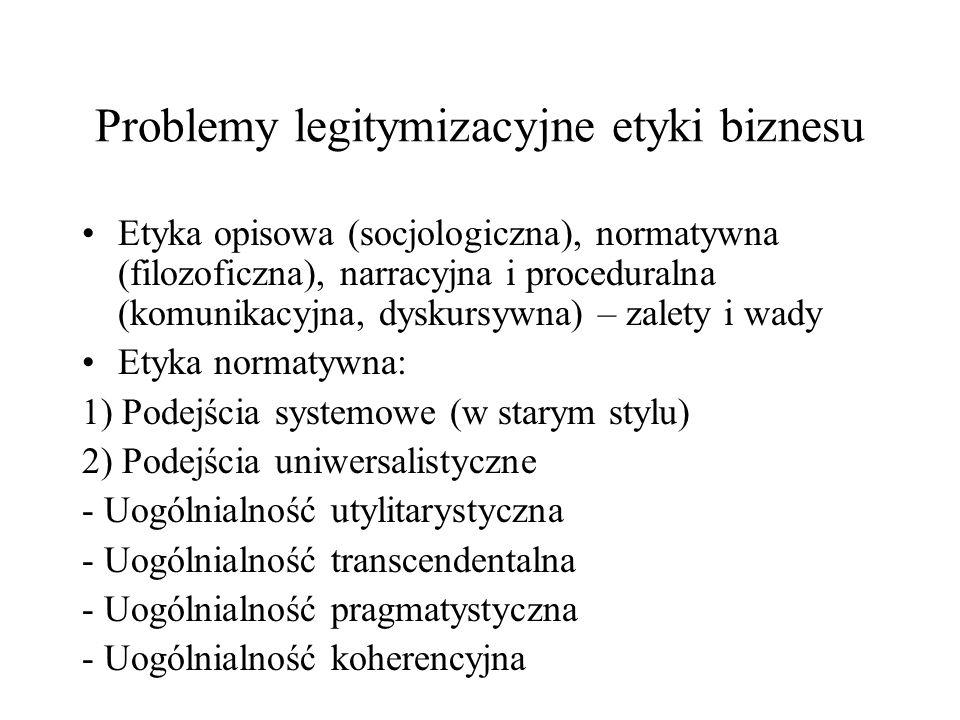 Problemy legitymizacyjne etyki biznesu Etyka opisowa (socjologiczna), normatywna (filozoficzna), narracyjna i proceduralna (komunikacyjna, dyskursywna) – zalety i wady Etyka normatywna: 1) Podejścia systemowe (w starym stylu) 2) Podejścia uniwersalistyczne - Uogólnialność utylitarystyczna - Uogólnialność transcendentalna - Uogólnialność pragmatystyczna - Uogólnialność koherencyjna