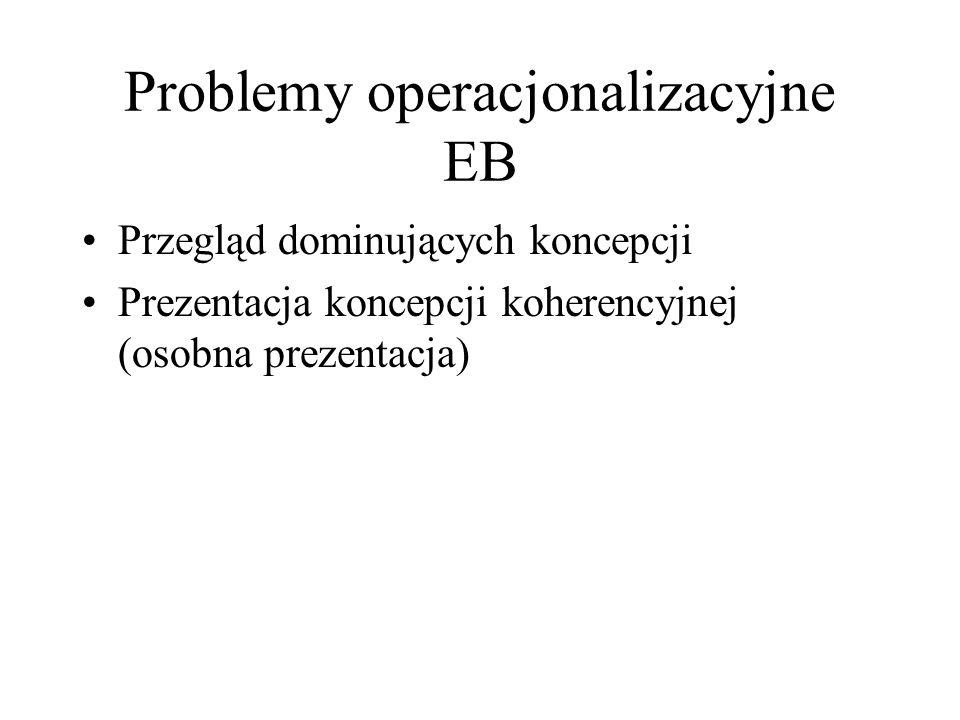 Problemy operacjonalizacyjne EB Przegląd dominujących koncepcji Prezentacja koncepcji koherencyjnej (osobna prezentacja)