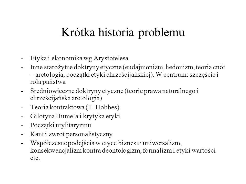 Krótka historia problemu -Etyka i ekonomika wg Arystotelesa -Inne starożytne doktryny etyczne (eudajmonizm, hedonizm, teoria cnót – aretologia, począt