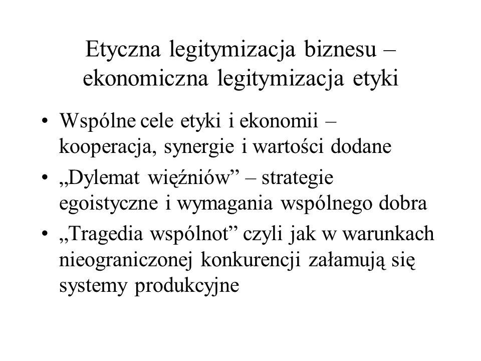 """Etyczna legitymizacja biznesu – ekonomiczna legitymizacja etyki Wspólne cele etyki i ekonomii – kooperacja, synergie i wartości dodane """"Dylemat więźniów – strategie egoistyczne i wymagania wspólnego dobra """"Tragedia wspólnot czyli jak w warunkach nieograniczonej konkurencji załamują się systemy produkcyjne"""