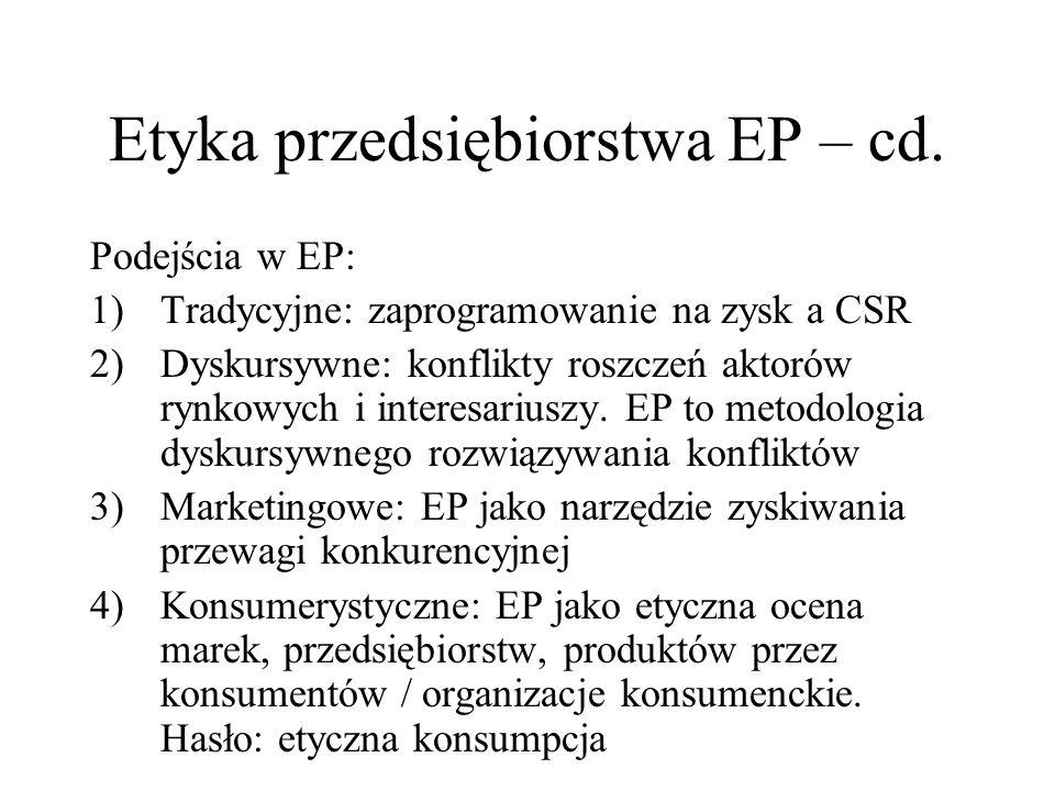 Etyka przedsiębiorstwa EP – cd. Podejścia w EP: 1)Tradycyjne: zaprogramowanie na zysk a CSR 2)Dyskursywne: konflikty roszczeń aktorów rynkowych i inte