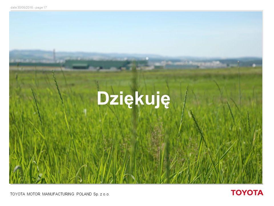 date 30/05/2016 - page 17 TOYOTA MOTOR MANUFACTURING POLAND Sp. z o.o. Dziękuję