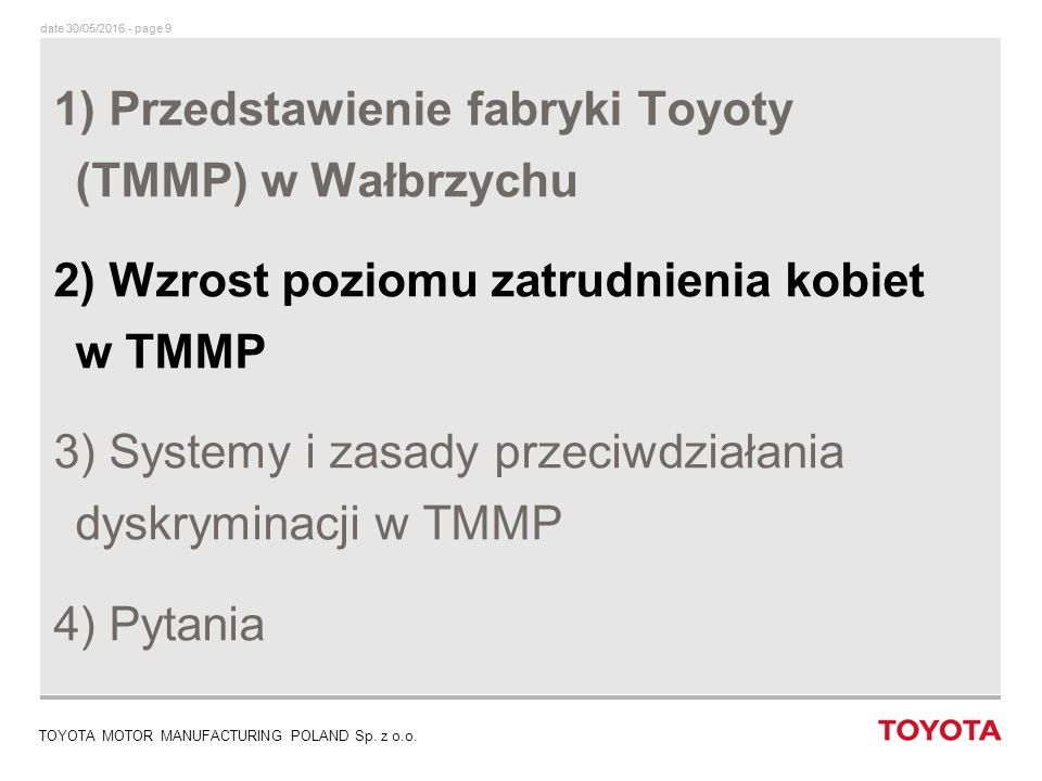 date 30/05/2016 - page 9 TOYOTA MOTOR MANUFACTURING POLAND Sp.