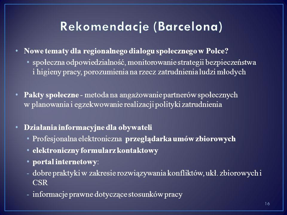 Nowe tematy dla regionalnego dialogu społecznego w Polce? społeczna odpowiedzialność, monitorowanie strategii bezpieczeństwa i higieny pracy, porozumi