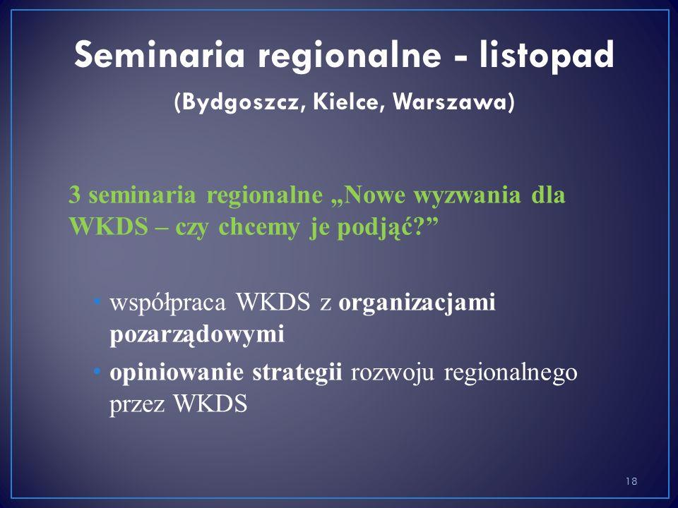 """3 seminaria regionalne """"Nowe wyzwania dla WKDS – czy chcemy je podjąć? współpraca WKDS z organizacjami pozarządowymi opiniowanie strategii rozwoju regionalnego przez WKDS 18 Seminaria regionalne - listopad (Bydgoszcz, Kielce, Warszawa)"""